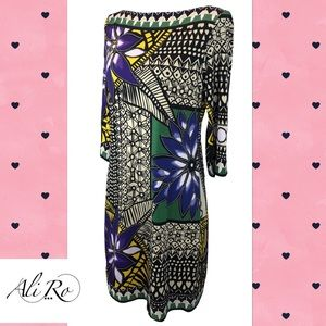 Ali Ro 3/4 Sleeve Mardi Gras Printed Dress